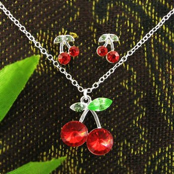 Cherry Jewelry, Charm 925 Silver Red Cherry crystal jewelry set, Lovely Fashion Jewelry Crystal Set T239 Free Shipping