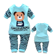 Buy 2PCS baby boys girls cotton clothes tops+pants sets outfits set baby clothes spring autumn Clothing babies suits Bear stripe for $6.00 in AliExpress store
