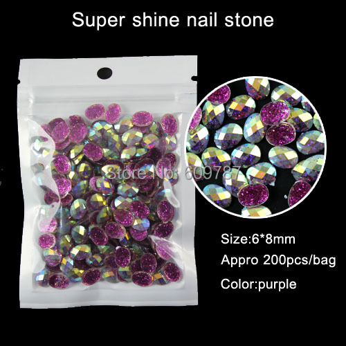 purple 200pcs Oval Rhinestone nail art Jewellry Beads Gem Stones