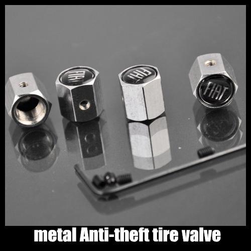 Free shipping  1set Car Logo emblem Anti-theft Tire Valve Caps for FIAT metal Tire Valve Stem Caps easy DIY decoration