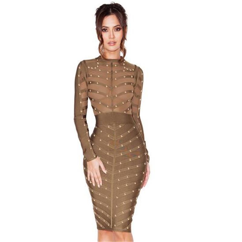 New Spring Autumkn Women Bodycon Bandage Dress Long Sleeve O Neck Perspective Dresses Long Maxi Dress