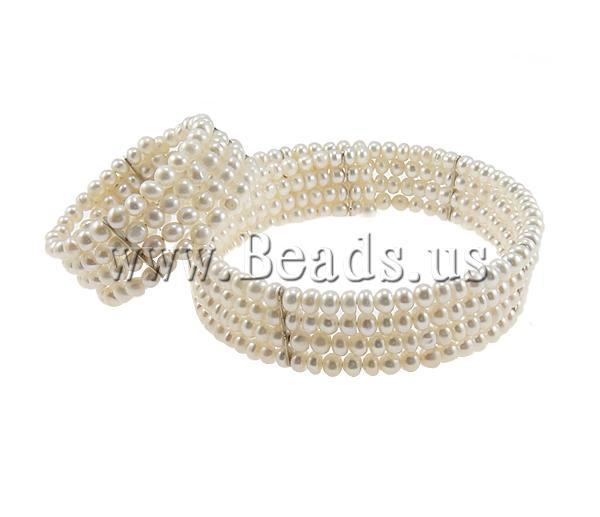 Free shipping!!!Natural Cultured Freshwater Pearl Jewelry Sets,Christmas Gift, Round, natural, white, 5x6mm, Length:7.5 Inch