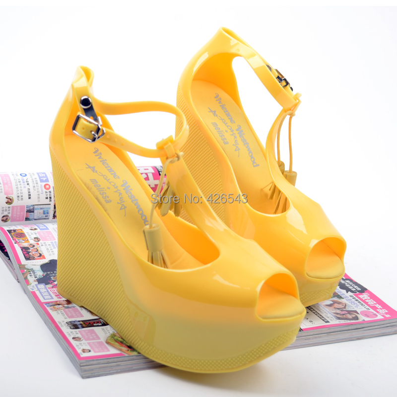 2015 Melissa fashion wedges women's ultra high heels shoes candy color jelly tassel open toe sandals plastic - XIXI's Professional Store store