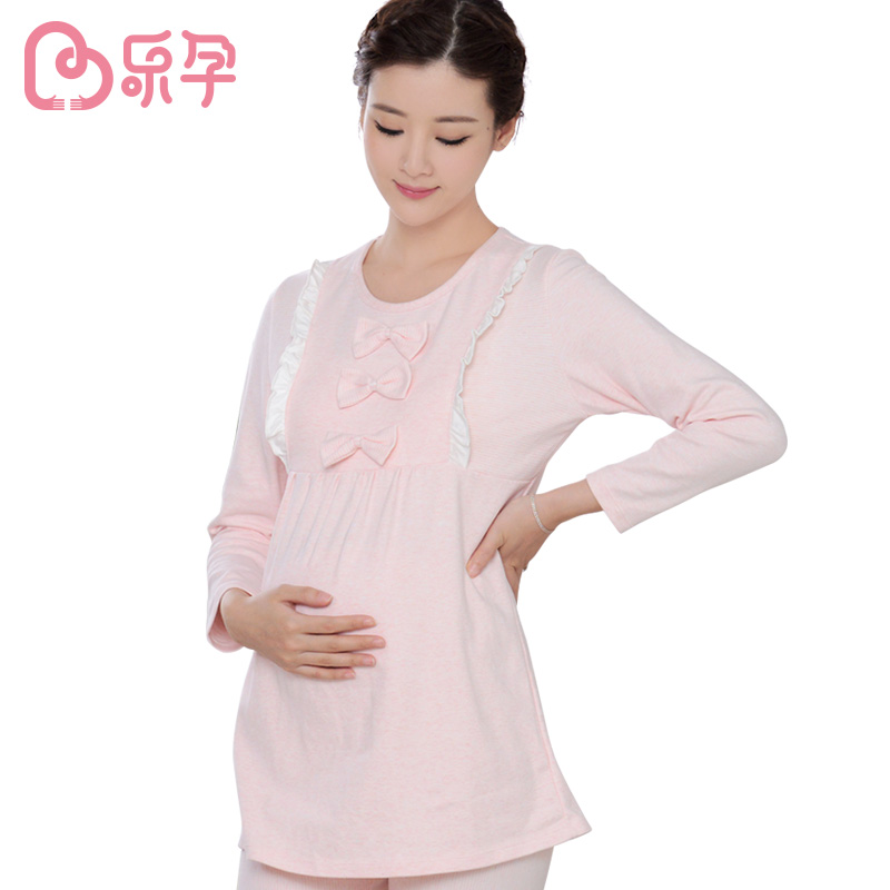 New Mummy clothing nursing pajamas Breastfeeding Cotton Nursing Long Sleeve Solid Tops Clothes