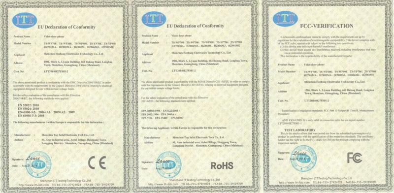 video door phone certificate