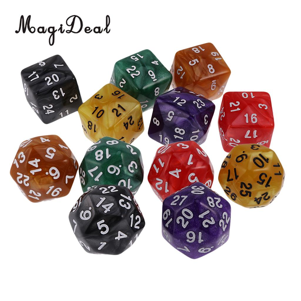 6pcs 25mm Multi Sided D24 or D30 Dice for Dungeons /& Dragons RPG Roleplay Games