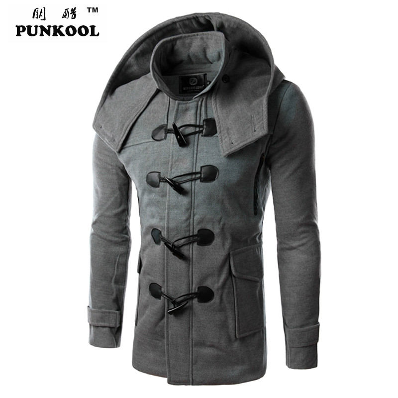 PUNKOOL Hot Duffle Coat Men Winter Fashion Design Wool ...