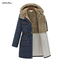 2016 Plus Size Outwear Women Winter Zipper Jackets Cotton Padded Wool liner Female Cap Long Warm