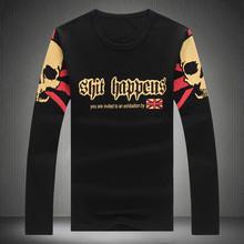2016 Men's Clothing Tops & TeesT-Shirts 2016 new Men's Fashion T Shirt Skull Print Long Sleeve T-Shirt Cotton T Shirt Plus Size