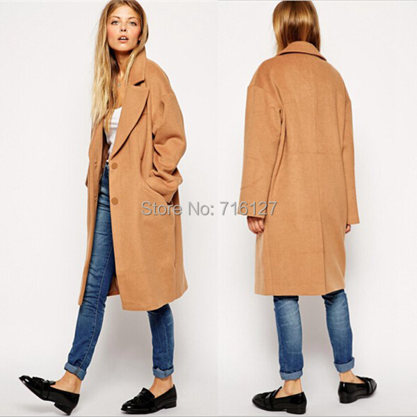 new 2014 autumn winter Plus Size simple fashion Retro-style Camel two buckle double pocket women wool coat S-XXL - Odie's store