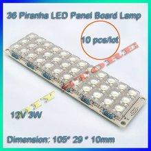 Free shipping 10 pcs/lot  White 36 Piranha LED Panel Board Lamp Light 12V 3W-10000394(China (Mainland))