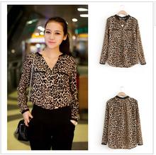 Women Blouse Leopard Print Shirt Long sleeve V -Neck Top Loose Blouses Plus Size Chiffon Shirt Camisa Feminina Clothing