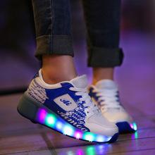 2016 New Children Heelys Kids Boys and Girls LED Light Up Skate Shoe Unisex Adult Casual Sports Shoes Single Wheel Size 28-43