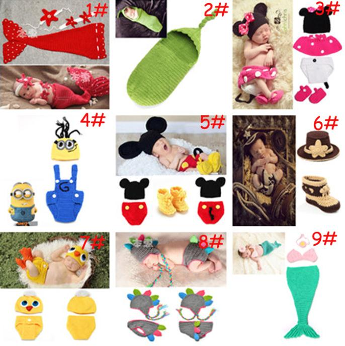 Latest cartoon Design Mickey Minions Mermaid Baby Boy Girl infant Crochet Photo Photography Props 2set/lot MZS-14039(China (Mainland))
