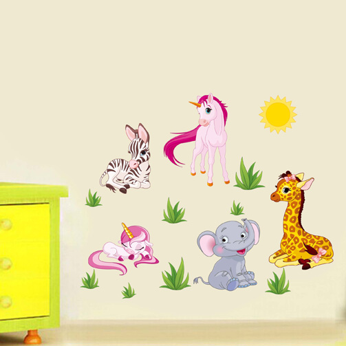 cartoon Animal Paradise elephant horse pvc wall stickers for kids rooms home decor nursery wallpaper bedrooms wall art decals(China (Mainland))