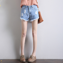 Make the new high waist jeans women's summer han edition tassel burrs loose type A wide-legged pants hot pants(China (Mainland))