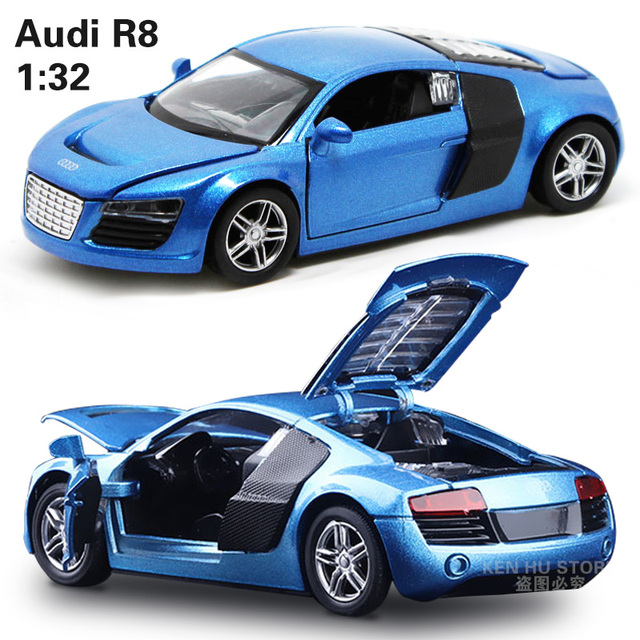1:32 kids toys AD R8 metal toy cars model for children music sound pull back car miniatures gifts for boys