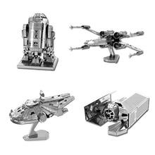 Star Wars 3D Metall Puzzles Montieren DIY R2D2 Krawatte Xwing Kämpfer Millennium Falcon Modell Spielzeug Neujahr Geschenk(China (Mainland))