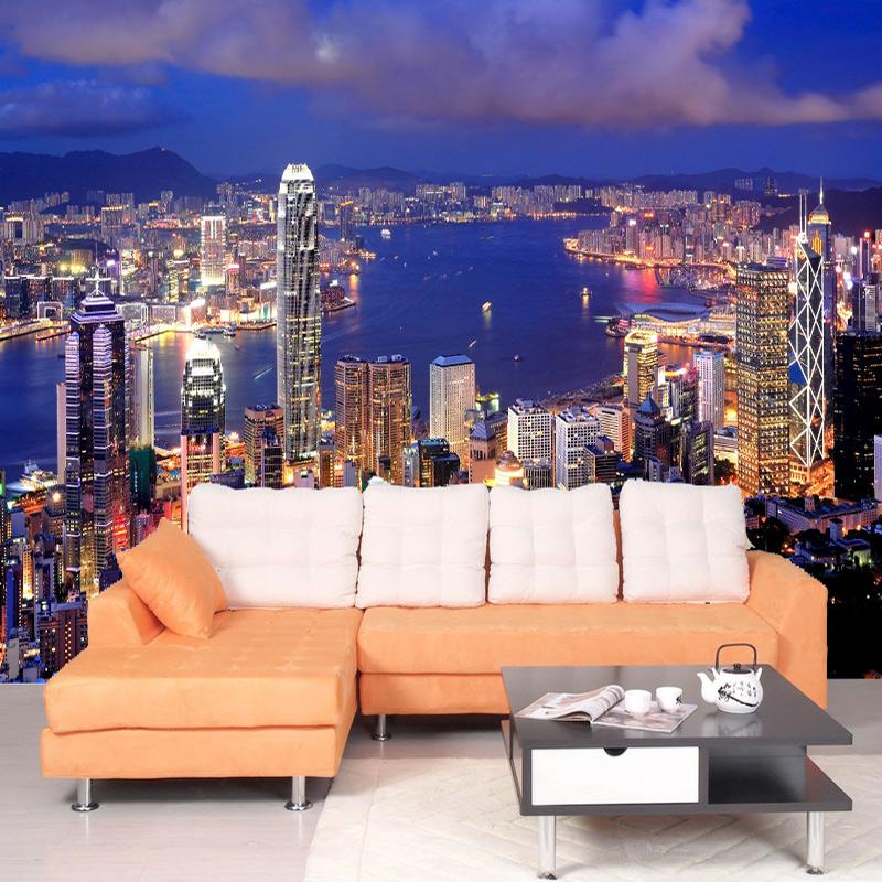 Kualitas Tinggi Yang Modern 3D Kota Night Scene Foto