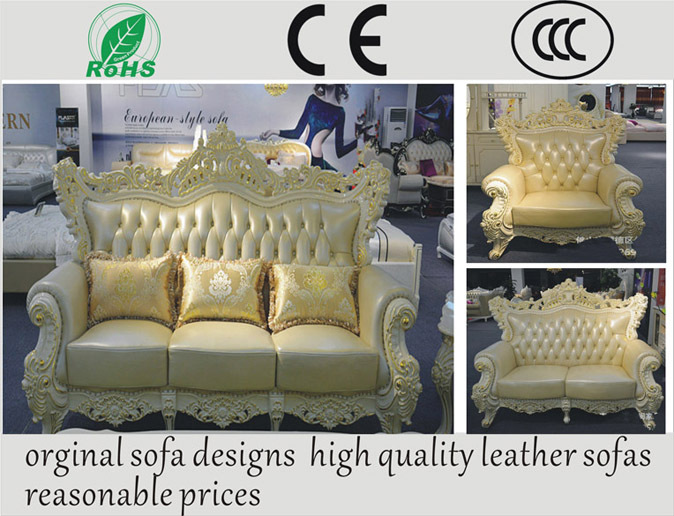 Continental Sofa Wealthy Sided Carving Palace Luxury Villa Living Room Sofa Leather Combination1+2+3sofa set(China (Mainland))