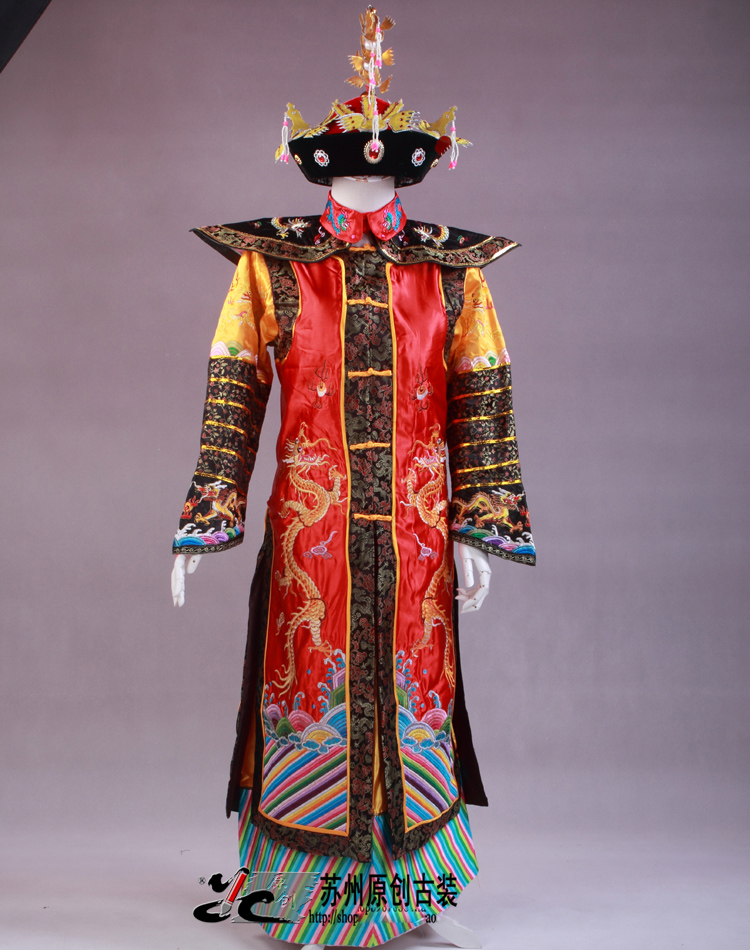 China Qing Dynasty Emperor & Queen clothes Manchu costume Phoenix robe dragon stage costume studio portrait photography theme(China (Mainland))