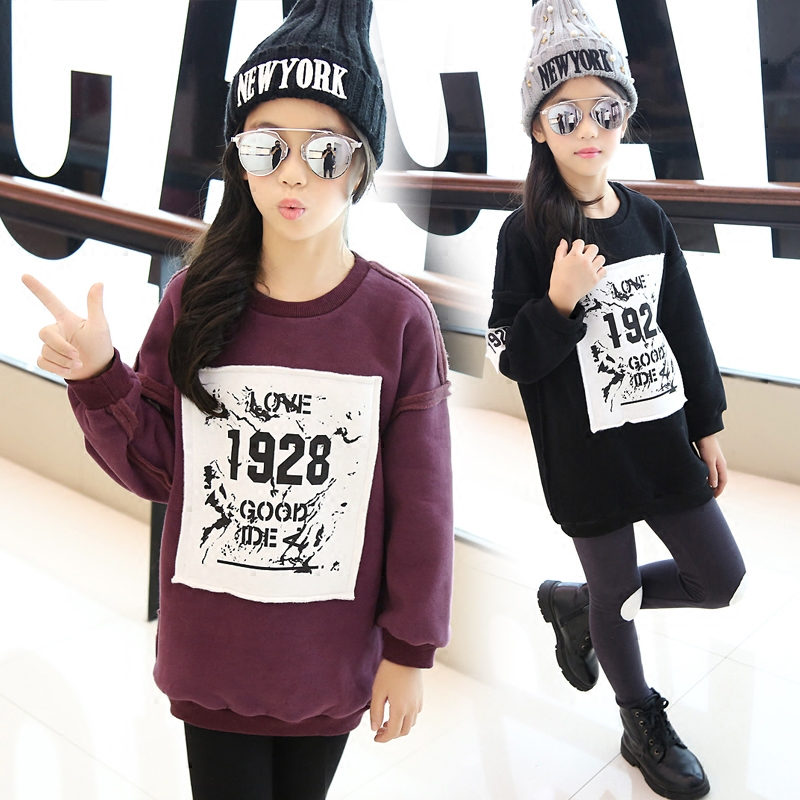 4 5 6 7 8 9 10 11 12 13 Years T-shirt For Girls Teenagers Long Sleeve Warm Letter Shirts For Girls Teens Tops Girls Clothes(China (Mainland))