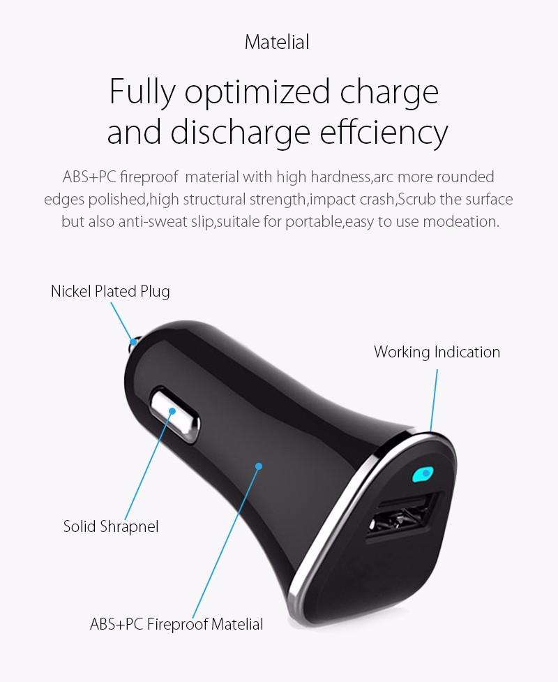 [Qualcomm Certified] Quick Charge 3.0 QC2.0 1 Port USB Car Charger For Apple iPhone 6s Samsung S6 5 Note LG Cell Phone Tablet