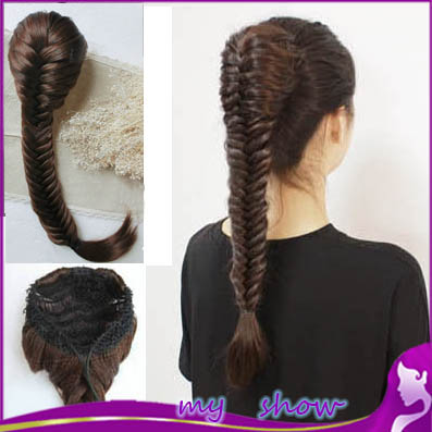 New Style Synthetic Long Wavy Braided Hair 20inch Braid Fishbone Plait Ponytail Handmade Elastic Drawstring Hair Chignon