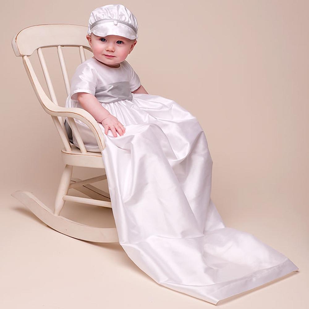 ... Baby 100% Dupionseide in Weiß Kleid Baby Jungen Taufe Kleider(China