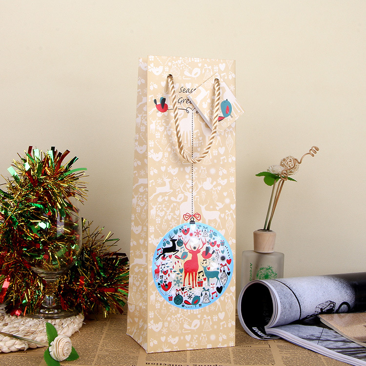 Christmas Snowman Paper Gift Bag Festive Party Decor Red Wine Bottle Bag Art UV Gift Wrap Package SD795(China (Mainland))