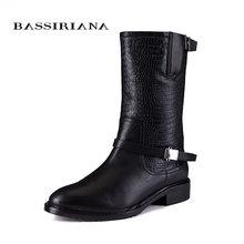 2017 nieuwe winter laarzen met bont Echt leer schoenen vrouw Grote maten 35-40 Hoge kwaliteit schoen voor vrouwen BASSIRIANA(China)