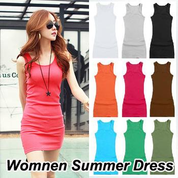 10color New Fashion Casual Cotton Elastic Sexy Bodycon Long Tank Top Women Summer Dress 2014