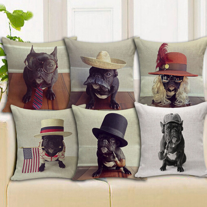 cushion 45x45cm Cute Cartoon NEW French Bulldog pi...
