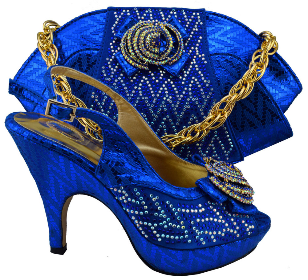 Free shipping Italian design woman matching shoe and bag set Dinner party,MM1003 nigeria blue high quality for wholesale price(China (Mainland))
