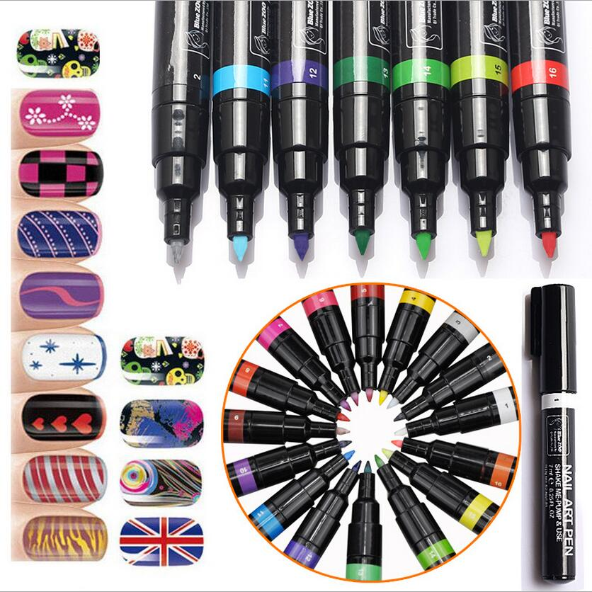 24 Colors Nail Polish Pen for 3D DIY Nail Art Decoration Nail Art Painting Pen for Manicure-NT019(China (Mainland))