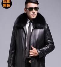 プラスサイズ厚く暖かい冬の男性ナチュラルウサギの毛の襟取り外し可能なライナージャケット男性本革コート上着(China)