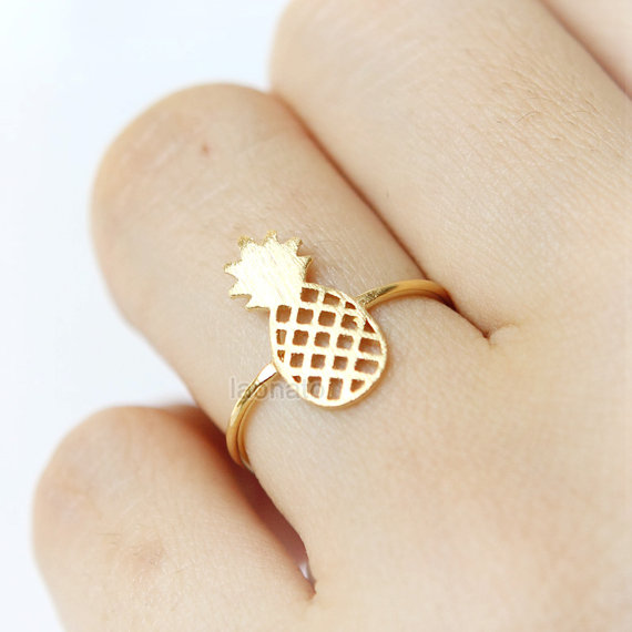 Gold Silver Rose Gold Plated Sons of Anarchy Rings Boho Fruit Pineapple Ring Bague Vintage Reglable Fashion Masonic Jewelry(China (Mainland))