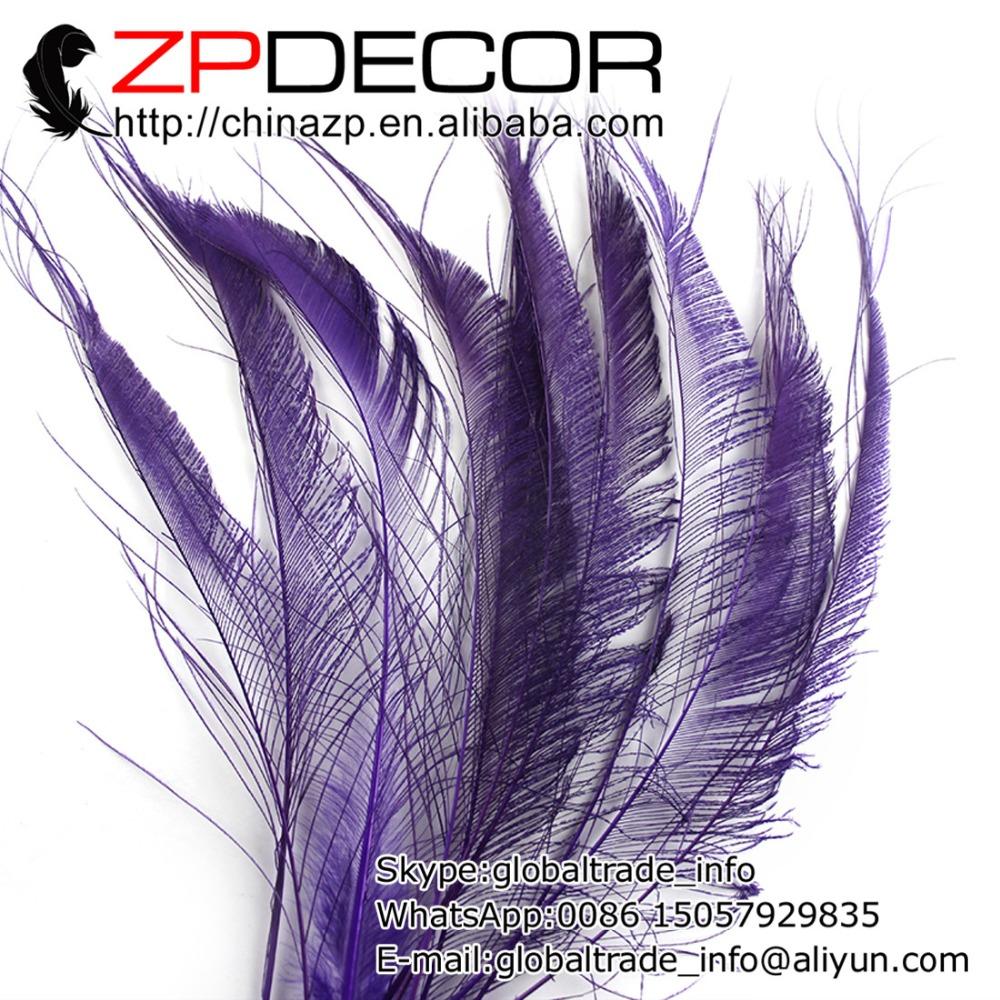 ZPDECOR 50pcs/lot 30-40cm(12-16inch) Hand Select Premium Purple Bleached Peacock Swords Cut Wholesale Feathers(China (Mainland))