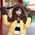 HT546 New Fashion Women Scarf Set Thick Warm Hat Scarf and Gloves Set Winter Hats Scarfs Sets with Pockets Women's Hats