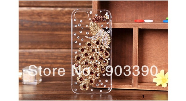 Luxurious Rhinestone Diamond Phoenix case for iphone5 5G Crystal hot peacock Cover For iphone 5 10pcs/lot free shipping