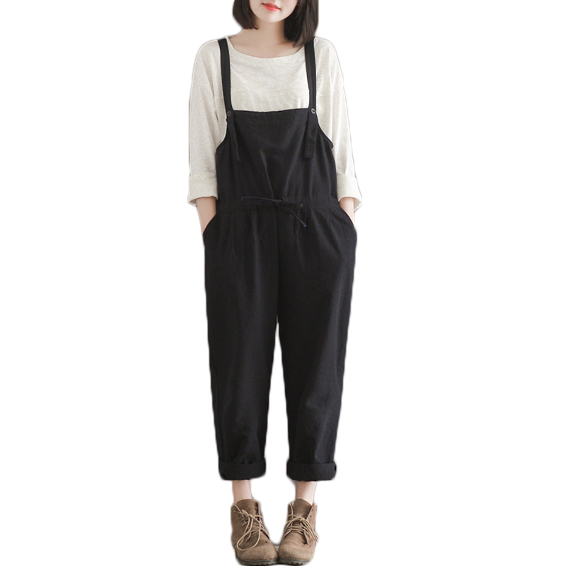 Plus Size Casual Black Cotton Linen Overalls Pants Women Students Slim Wide Leg Harem Rompers Pants Pantalones 2017 New Fashion