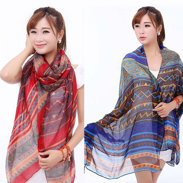 Free shipping Fashion Women Cotton Voile Long Tribal Scarf Shawl