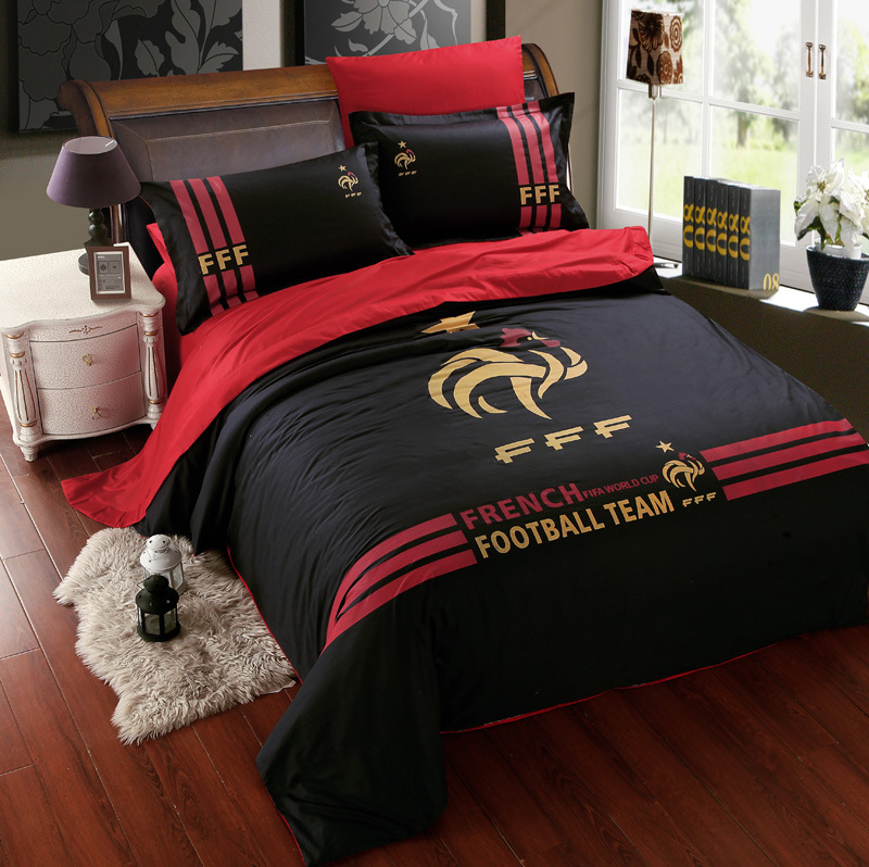 Black cotton football team bedding sets for boys mens