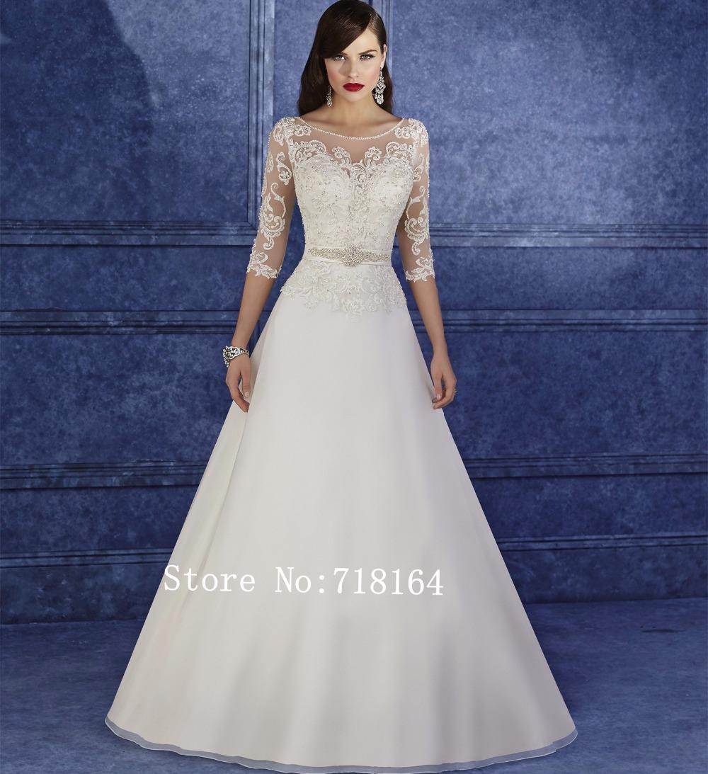 Modest muslim wedding dress with sleeve romantic sexy see for Wedding dress with see through back