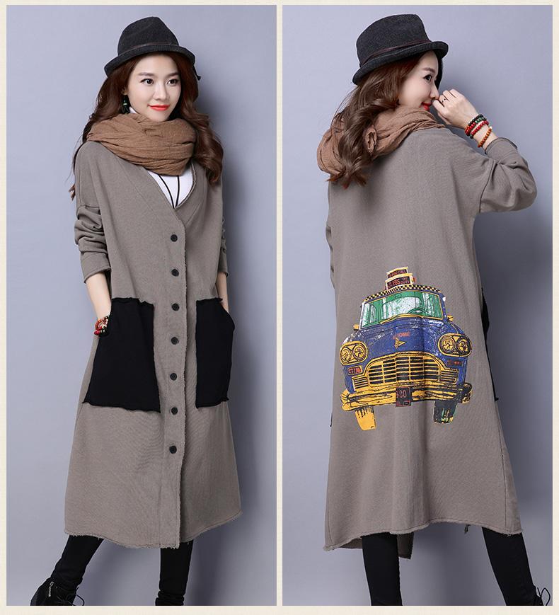 2016 New Autumn And Winter Cotton Artistic Leisure Korean Female Code Flash Sen Pocket Cardigan Thick Coat
