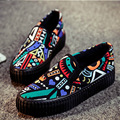 2015 Korean Summer Spring Women Fashion Platform Shoes Increased a Pedal Lazy Shoes Graffiti Flowers Loafers