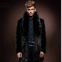Faux Fur Jacket Coat Outwear Winter Men New Luxury Parka Long Trench Leather 0009(China (Mainland))