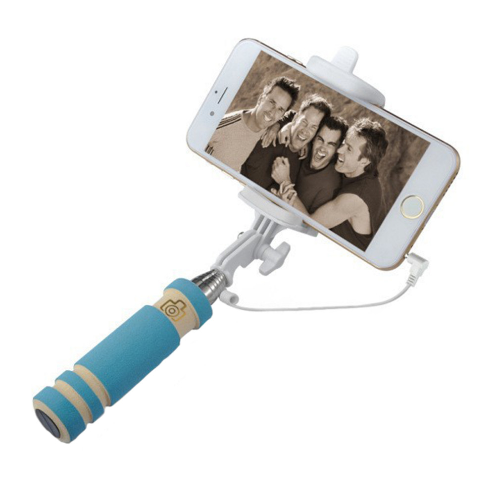 image for Portable Mini Folding Mobile Phone Wired Self Selfie Sticks For Iphone