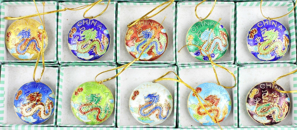 Wholesale Collectibles10pcs Chinese Handmade Cloisonne Dragon Christmas Ornaments Charms(China (Mainland))