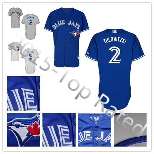 2015 New Toronto Blue Jays #2 Troy Tulowitzki White Blue Gray Cool Base Baseball Jersey Mens Stitched Jersey,Free Shipping(China (Mainland))
